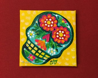 Sugar Skull Art Magnet, 3x3 inch mini painting
