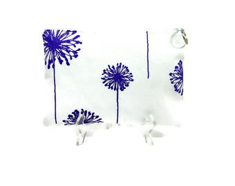 Purple White Dandelion Large Pouch, Zipper Pouch, Gadget Case, Zip Purse, Zipper Catchall Bag, 10.5 x 7.5 Pouch, Dandelion Bag, School Pouch