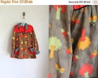 20% off SALE vintage girl's novelty print dress - ACORN TREE tunic top / 7x