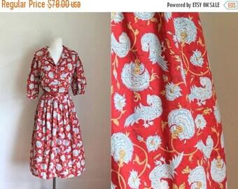 20% off SALE vintage 1960s novelty print dress - FIREBIRD bird print shirtwaist dress  / M-L