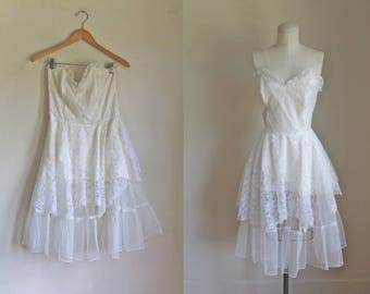 vintage 1980s wedding dress - GUNNE SAX 50s style party dress / S/M