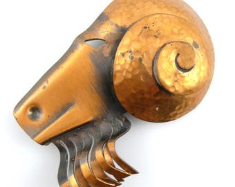 BIG Vintage 1930s 40s Francisco REBAJES Handmade Copper Ram Goat Capricorn Aries Brooch PIN