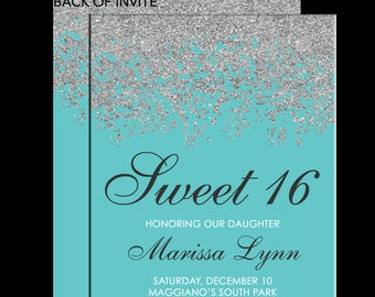 Sweet 16 Birthday Invitations - Quinceanera Invitation - Teal Aqua Blue Silver Sparkle Glitter Pattern - Guest & Return Addressing Available