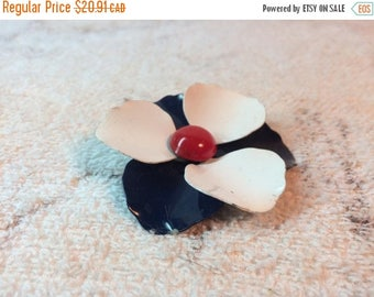 15% OFF Vintage Enamel Flower Brooch Navy Blue Red and White Retro Jewelry Accessories 60s 70s Mod