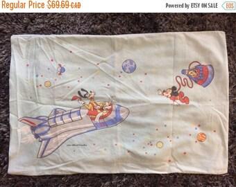 SUMMER SALE Vintage Disney Pillowcase Space NASA Retro 70s Single Standard Size Pillowcase Mickey Mouse Goofy Astronaut