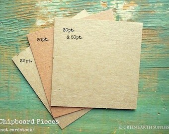 "50 4""x4"" Chipboard Squares: Rustic Kraft Brown Display Cards Recycled 4x4 (102mm) 20 pt (.020"") 22 pt (.022"") 30 pt (.030"") or 50pt (.050"")"