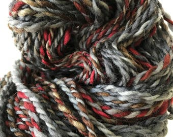 "Handspun Yarn -- ""Snow Berries"" -- Corriedale wool -- 136 yards heavy worsted aran weight"