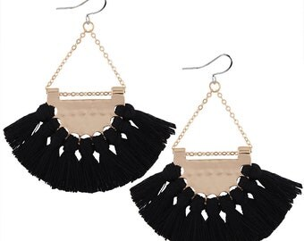 Choose white or black tassel earrings - surgical steel earing, fan shape moon tassel statement, stainless steel, nickel free, hypoallergenic