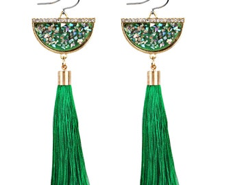 Green tassel long earrings - surgical steel earrings, stainless steel, nickel free, hypoallergenic long green tassle fan shape earrings