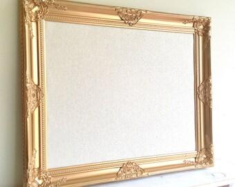 Gold BULLETIN BOARD Fabric Bulletin Board Pin Board Pinboard Metallic Gold Brass Linen Wedding Seating Chart Cork Board Magnet Board Vintage