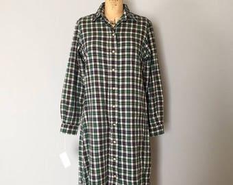 25% OFF SALE... SALE...L.L.Bean plaid cotton dress | 1980s oversized shirtdress