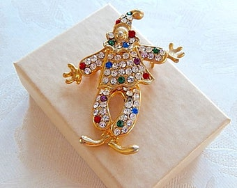 Clown Brooch, Rhinestone Clown, Articulated Brooch, Vintage Brooch, Circus Theme, Gift for Her