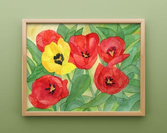 Red Tulip Print from Original Watercolor