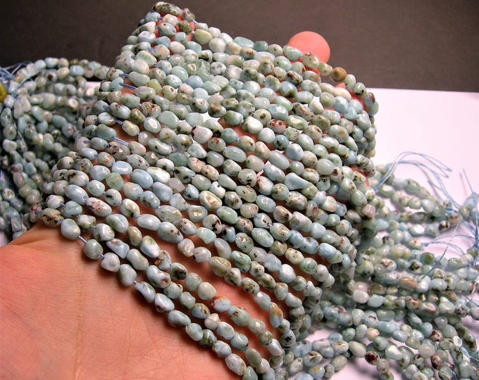 Larimar Gemstone - full strand - small pebble - 64 beads per strand  - PSC389