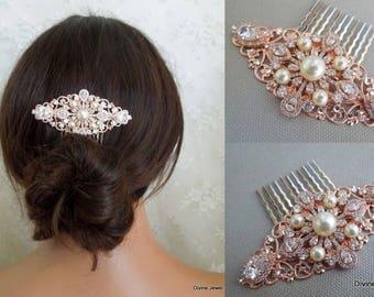 Bridal Rhinestone pearl Hair Comb Rose Gold bridal Hair Comb Bridal Rhinestone Hair Comb Bridal Hair Comb Swarovski pearls hair comb ARLENE