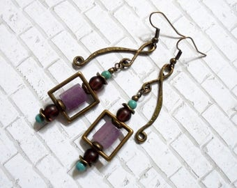 Lavender, Turquoise and Brown Boho Earrings (3596)