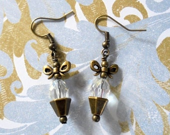 Clear Crystal Earrings with Brass Bows (3759)