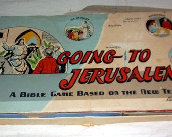 Board Game Vintage 1955 Parker Brothers Game Going to Jerusalem Ready to Play A Bible Game Based on the New Testament