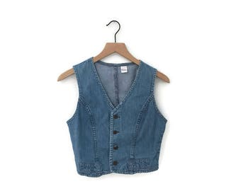 vintage 1970s Wrangler denim vest waistcoat / xs tiny fit