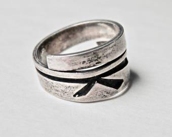 Vintage Hopi Ring Hopi Overlay Native American Sterling Silver Vintage Southwestern Jewelry Bypass Ring Size 6.5 Ring Vintage Jewelry