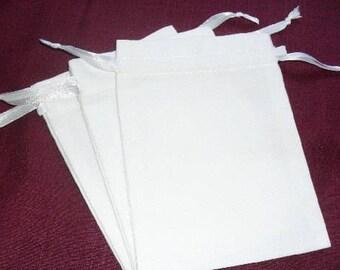 "200 White cotton drawstring Pouch 4"" X 4"" with white ribbon"