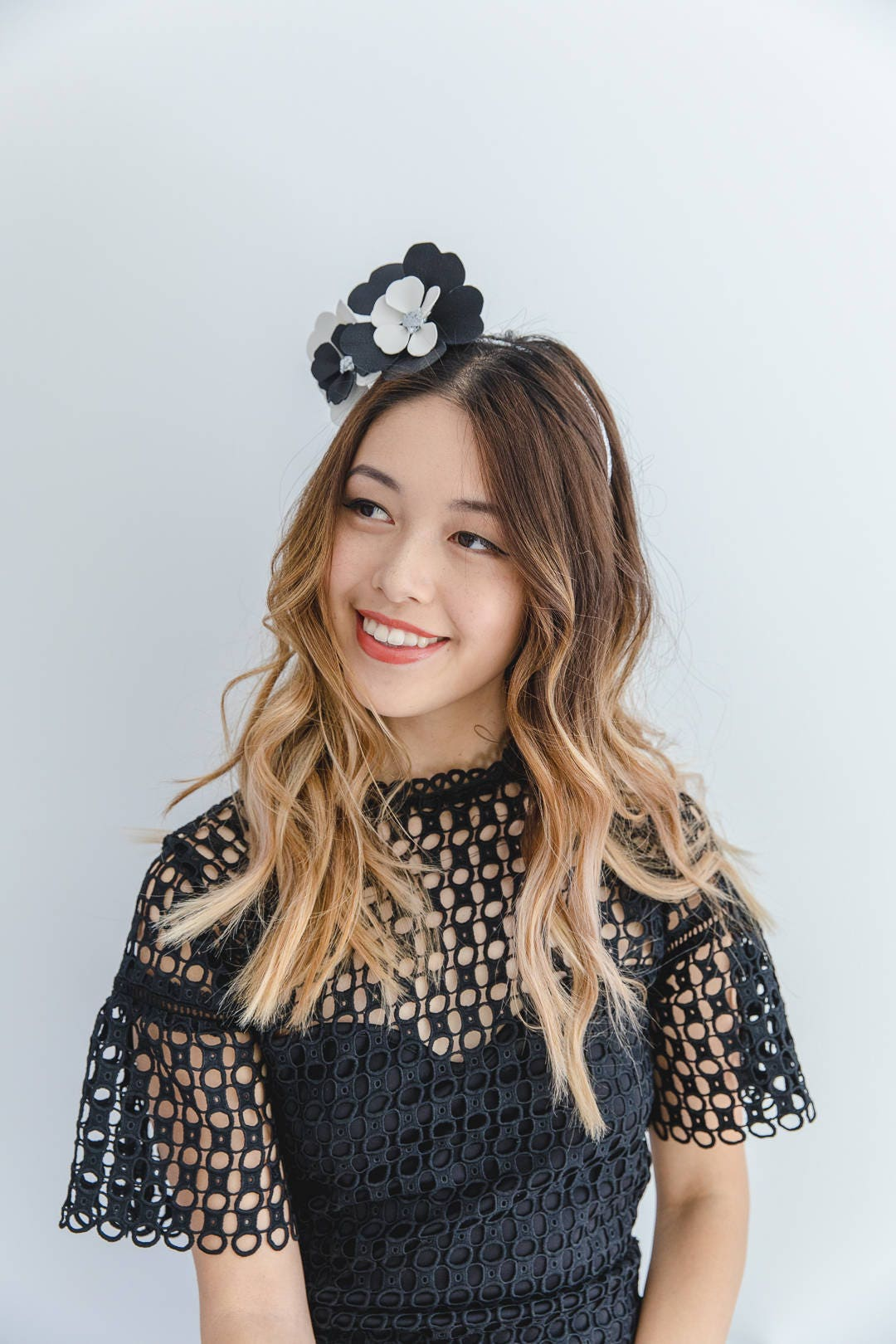 Black And White Leather Flower Fascinator Flower Crown Headband