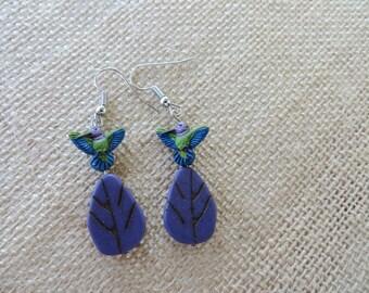 Handpainted Hummingbird And Purple Leaf Earrings