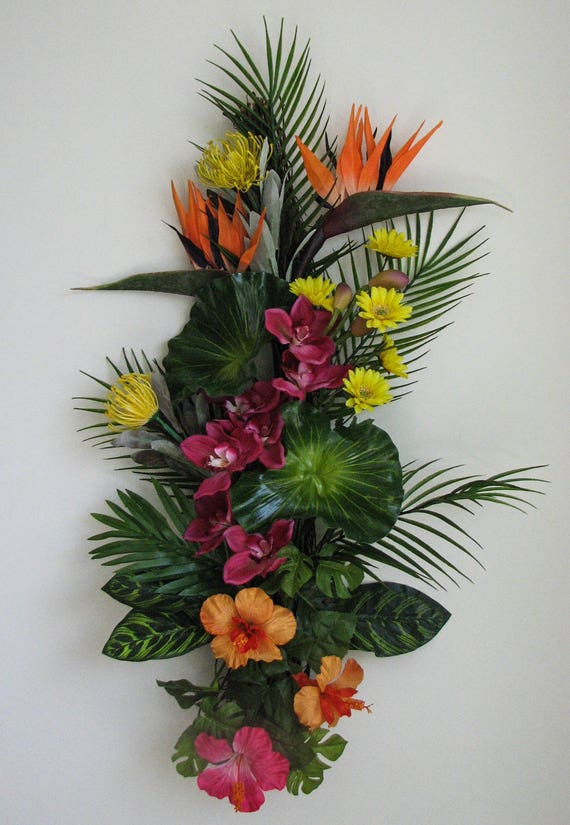 Summer Wreath Pink Orchid Tropical Swag Wreaths For Front