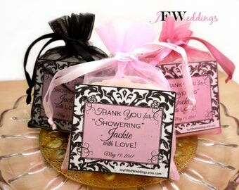 10 Soap Favors 4oz each, Vegan Handmade Soap, Shea ButterSoap, Bridal Shower Soap, Wedding Favors, Baby Girl Soap, Custom Label