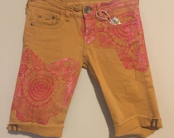 Yellow Ochre Jean Shorts, red heart print, hand printed, H&M, crochet doily print, mandala, zen