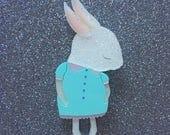 Shy Bunny Handmade Laser Cut Perspex Brooch - White Snow Glitter