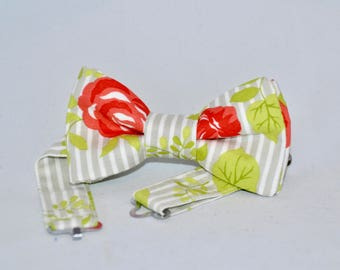 Roses Red Green Bow Tie Boys Mens
