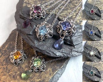 Elizabeth Necklace Birthstone Colors Custom Options Necklace Surgical Stainless Steel Chainmaille Swarovski Crystal Pearl