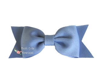 Girls Cornflower Blue Hair Bow, Baby Barrettes, Baby Bows, Toddler Hair Clips, Hair Accessory, Baby Girls Hair Bows, Blue Bows, School Bows