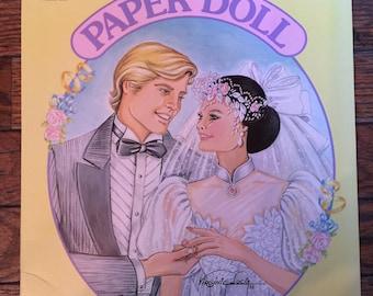 Vintage Golden Paper Dolls Bride and Groom