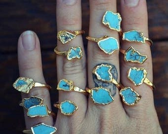 XMAS IN JULY Lux Divine /// Semi Adjustable Turquoise Wrap Ring /// Stackable Gemstone Gold Electroformed Ring