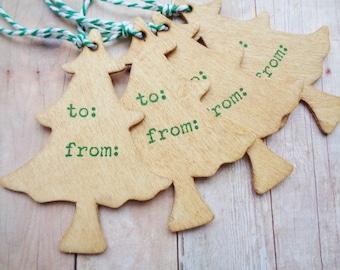 Wood Christmas Tree Tags Rustic Holiday Gift Tag