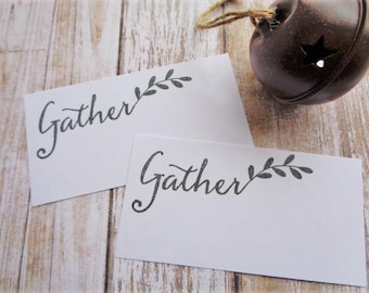 Gather Place Cards Rustic Farmhouse Christmas Table Decor Seating Name Card Housewarming Dinner Party Weddings