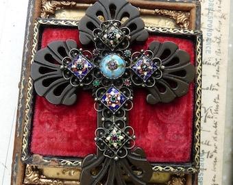 Antique Gutta Percha & French Champleve Enamel Cross, The Goddess Cross, by RusticGypsyCreations