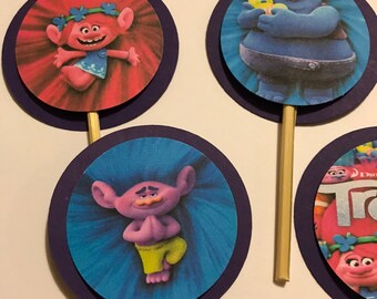 Trolls Movie Birthday Party Cupcake Cake Toppers Picks - 24