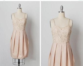 30% OFF SALE vintage 1960s dress / 60s soutache dress / cream silk dress / Snow Seedling dress
