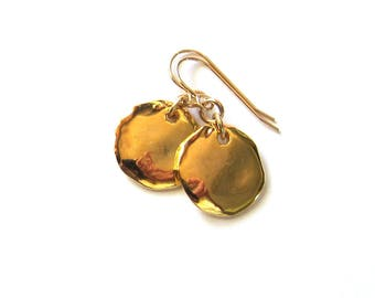 Gold coin drop earrings Simple gold disc dangles Elegant minimalist jewelry 14k gold filled Gift for her