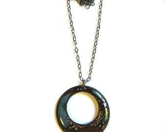 "Long boho enamel pendant necklace 30"" brown blue black round artisan necklace Rustic enameled copper bohemian jewelry"