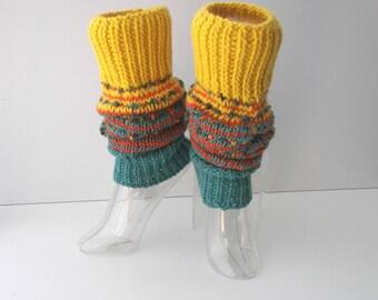 Hand Knit ART Thick Textured Long Leg Warmers in 100% WOOL Mohair / Wearable Fiber Art / SEAMLESS / Dance / Yoga