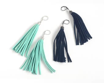 Leather tassel earrings in mint green and navy blue