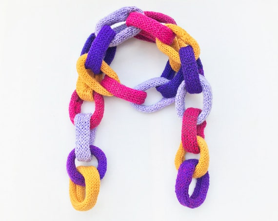 Jelly Bean Chain Scarf • Original Chain Scarves - Colourful Scarf for Adults - Bright Colorful Chain Link Scarf - Multi Coloured Chain Scarf