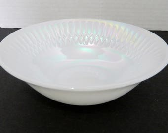 Federal Glass Luster Iridescent Opalescent Diamond Point Moonglow Cereal Bowl