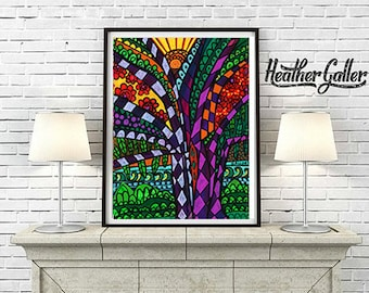 Kauai Trees Art Print Poster of Painting by Heather Galler Anini Beach Hawaii Island Folk Art