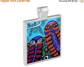 55% Off Today- Owl  Necklace Bird Animal Folk Art Jewelry - Pendant Metal  Gift Art Heather Galler Gift - Spirit Animal Vegan Gifts
