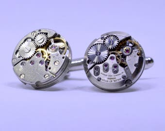 Industrial round watch movement cufflinks ideal gift for christmas 88